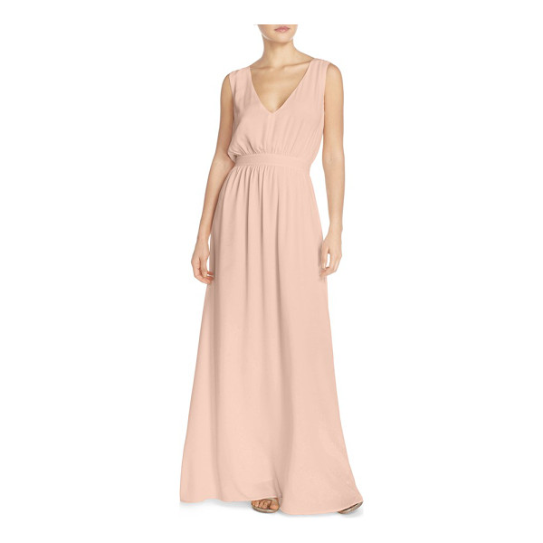 PAPER CROWN by lauren conrad 'sonoma' tassel back v-neck a-line gown - A fluid crepe gown makes an indelible impression with...