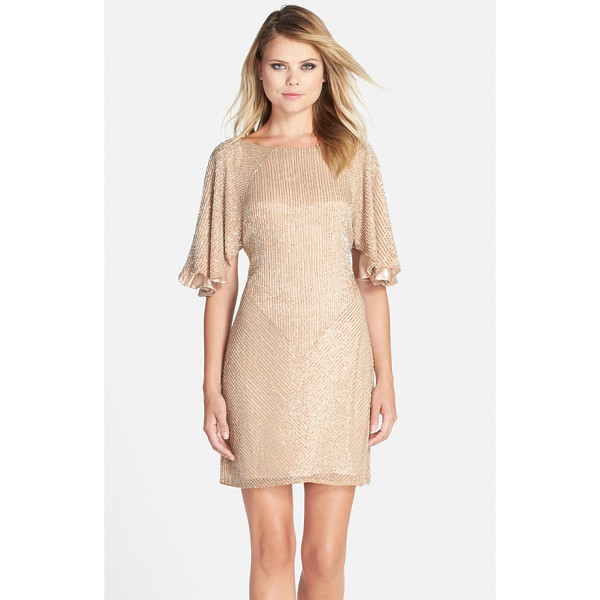 PARKER BLACK fiona flutter sleeve beaded dress - From its easy, fluttery sleeves to its shimmery blush hue,...