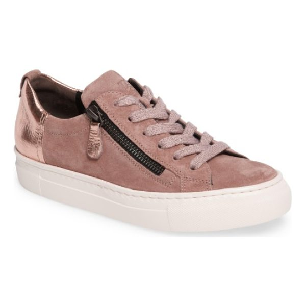 PAUL GREEN side zip sneaker - Glitter and patent accents highlight a mixed-finish suede...