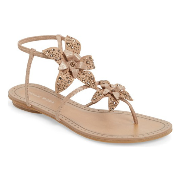PELLE MODA ellis strappy flowered sandal - Layered flowers bloom along slender leather vines on a...