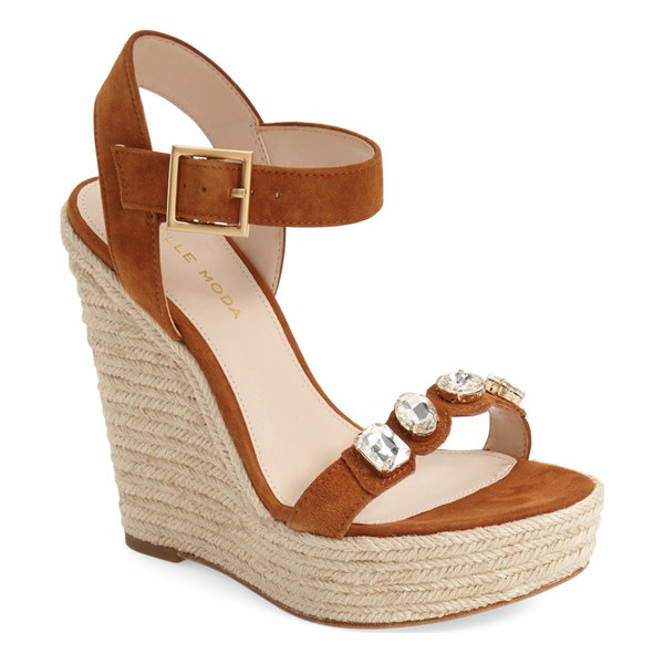 PELLE MODA 'olea' wedge sandal - Colorful crystals adorn the strap of a bold wedge sandal...