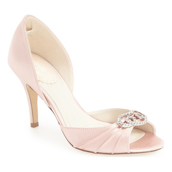 PINK PARADOX LONDON 'amour' d'orsay pump - A dazzling crystal-encrusted brooch accents the pleated