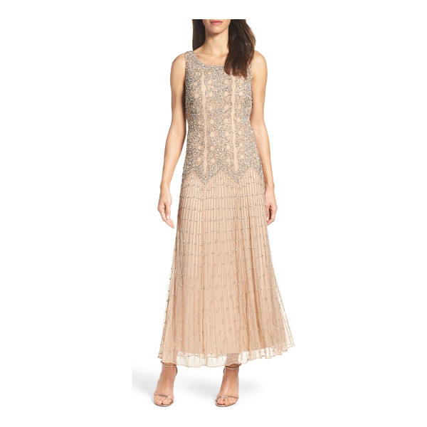 PISARRO NIGHTS beaded gown - Intricately embroidered metallic beads and sequins...