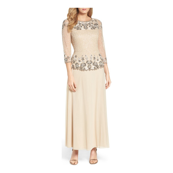 PISARRO NIGHTS beaded mesh gown - Light-catching beads and sequins create vintage-inspired...