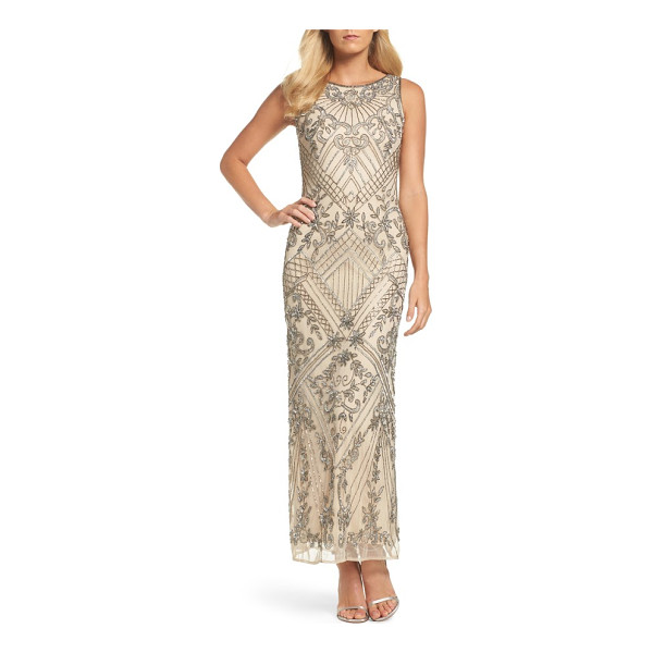 PISARRO NIGHTS beaded mesh gown - Light-catching patterns of matching sequins and beads...