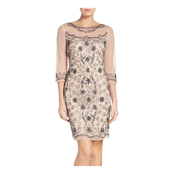 PISARRO NIGHTS beaded mesh sheath dress - A swirling beaded pattern covers a stunning cocktail dress...