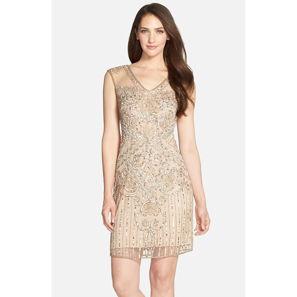 PISARRO NIGHTS beaded mesh v-neck dress - Steal the evening scene in a sheath twinkling with sequins...