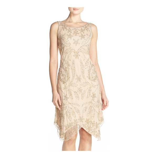 PISARRO NIGHTS embellished mesh a-line dress - This gauzy cocktail dress glints in silver and gold, and...