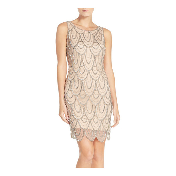 PISARRO NIGHTS embellished mesh cocktail dress - Strands of gleaming beads and sequins create an Art...