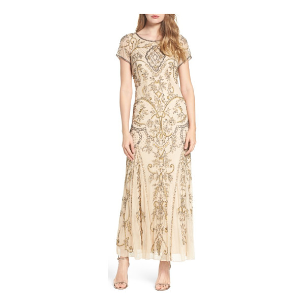PISARRO NIGHTS embellished mesh gown - Teams of glittering beads and sequins hark back to Jazz Age...