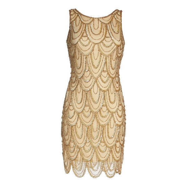 PISARRO NIGHTS embellished mesh sheath dress - Sparkling beads and sequins overlap like petals all around...