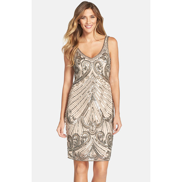 PISARRO NIGHTS embellished mesh sheath dress - The opulent sparkle of a bygone era comes roaring back with...