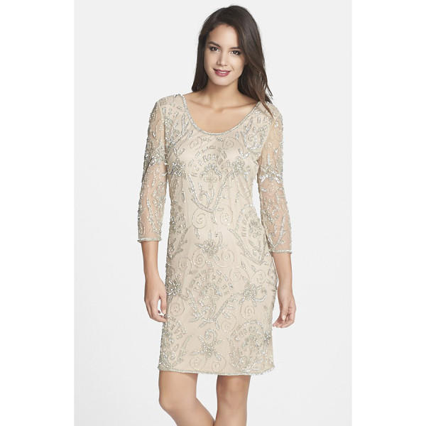 PISARRO NIGHTS embellished mesh sheer sleeve dress - Glimmering beads and sequins draw intricate patterns across...