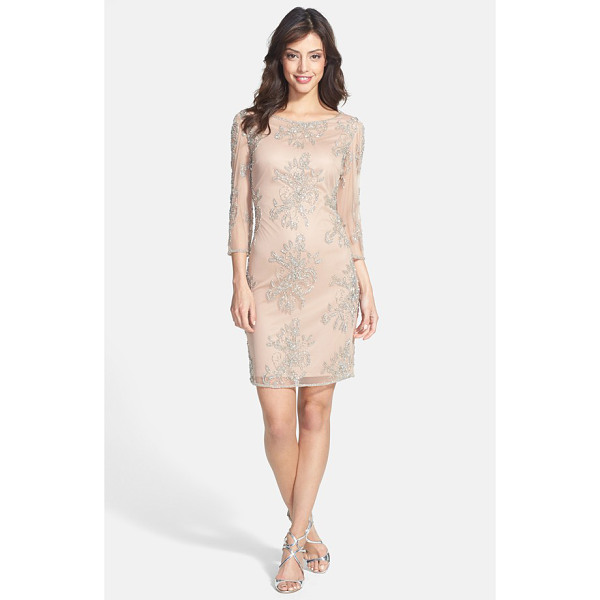 PISARRO NIGHTS embellished sheer sleeve tulle dress - Glimmering beads and sequins draw intricate patterns across...
