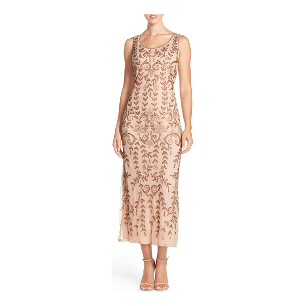 PISARRO NIGHTS Pisarro beaded mesh a-line dress - Bronzed beading gives leafy detail to this airy,...