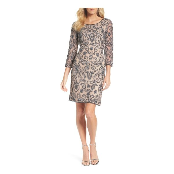 PISARRO NIGHTS sequin embroidered sheath dress - A sophisticated sheath dress with illusion sleeves becomes...