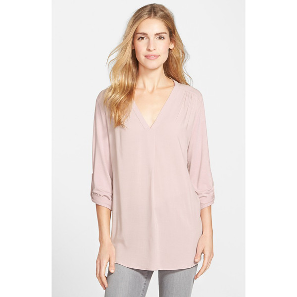 PLEIONE mixed media v-neck tunic - A roll-sleeve tunic billowed by a box pleat at the base of...