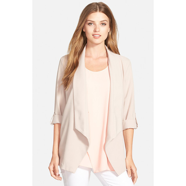 PLEIONE roll sleeve drape front jacket - A draped shawl collar and button-tab sleeves lend relaxed...