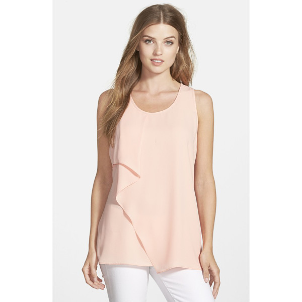 PLEIONE waterfall ruffle front tank - The softly ruffled edge of an overlapping front panel...