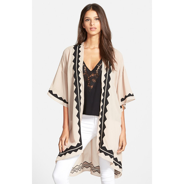 PLENTY BY TRACY REESE georgette kimono - Georgette appliques trace the edges of a flowy, open-front...