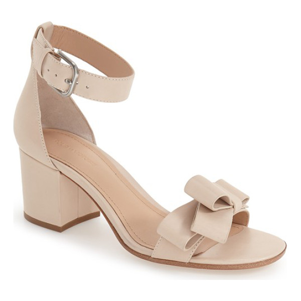 POUR LA VICTOIRE 'aimee' block heel sandal - A smart asymmetrical bow adorns the toe strap of this...