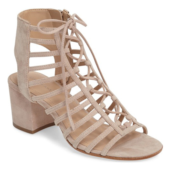 POUR LA VICTOIRE 'amabelle' lace-up sandal - Trend-forward laces and caged cutouts style a breezy suede...