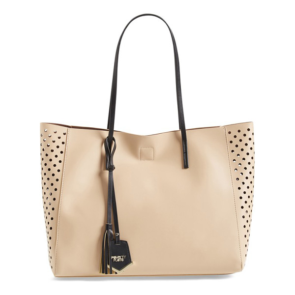 POVERTY FLATS BY RIAN Perforated faux leather shopper - Perforated side panels lend a trend-right twist to a sleek,...