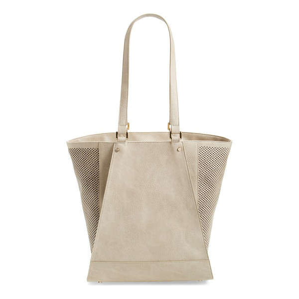 POVERTY FLATS BY RIAN Perforated faux leather tote - Perforated side panels lend a trend-right twist to a...