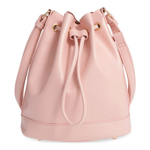POVERTY FLATS BY RIAN Shopper faux leather bucket bag - Gleaming goldtone eyelets and hardware add glam-chic appeal...