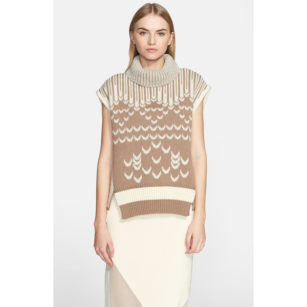 PRABAL GURUNG cap sleeve turtleneck sweater - A classic Fair Isle knit gets reinvented on a beautifully...