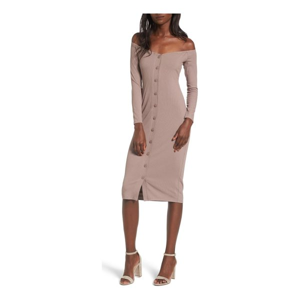 PRIVACY PLEASE albany off the shoulder midi dress - Meet your new girls' night look: this curve-hugging ribbed...