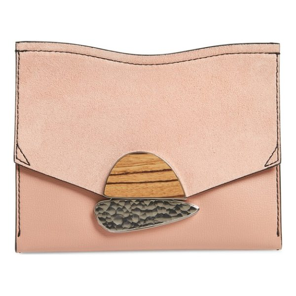 PROENZA SCHOULER small calfskin leather clutch - A gleaming metal clasp inset with custom-made wooden and...