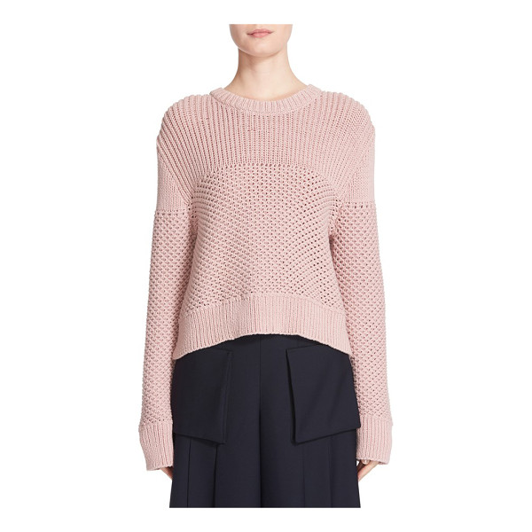 PUBLIC SCHOOL sweater - Mixed stitches add depth and dimension to a cropped,...