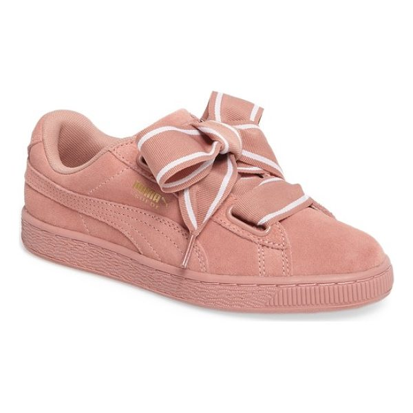 PUMA basket heart sneaker - Exaggerated wide laces and sporty styling update the iconic...