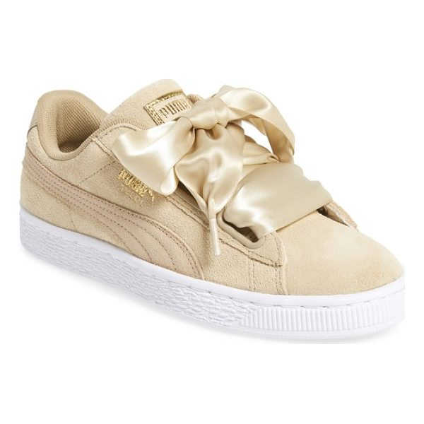 PUMA basket heart sneaker - Exaggerated wide laces and a glossy patent finish update...