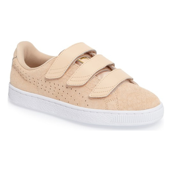 PUMA basket strap exoticskin sneaker - Reptile-textured suede detailed with perforated PUMA...