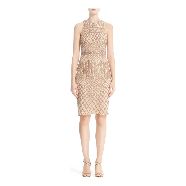 RACHEL GILBERT beaded high neck sheath dress - Champagne-colored bugle beads trace a figure-flattering...