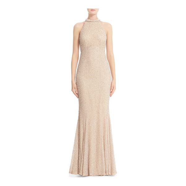 RACHEL GILBERT hand embellished halter mermaid gown - Dazzling from its high neckline to its flounced mermaid...