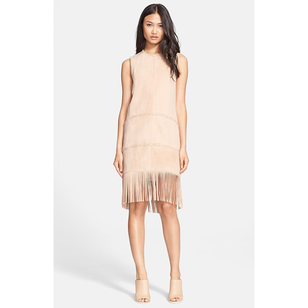 RACHEL ZOE celia suede shift dress - A fluttering fringe-ringed hem and precise whipstitched...