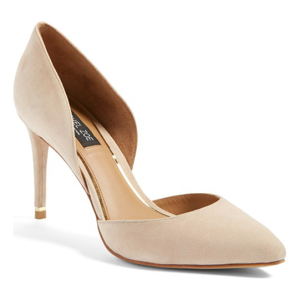 RACHEL ZOE kilee dorsay pump - A slender goldtone bar gleams from the back of a tall...