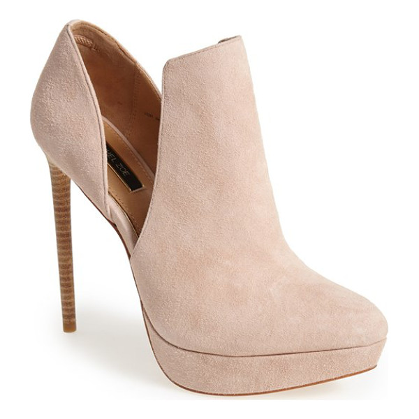 RACHEL ZOE lynette bootie - Plunging cutouts define a dramatic suede bootie lifted by a...