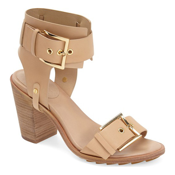 RACHEL ZOE reeve ankle strap leather sandal - Bold, polished buckles highlight the smooth leather straps...