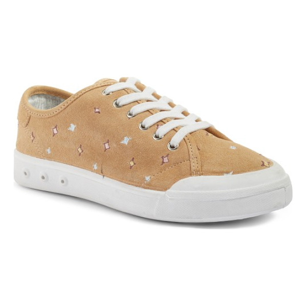 RAG & BONE embroidered standard issue sneaker - Colorful embroidered stars and velvety Italian suede update...