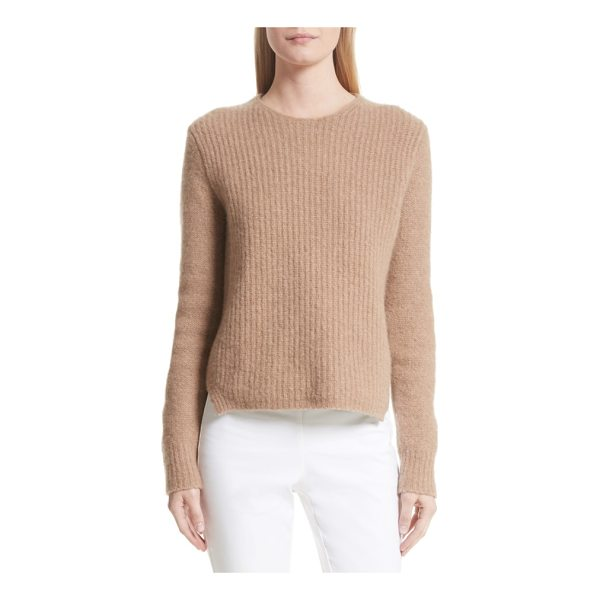 RAG & BONE francie merino wool blend sweater - Suede elbow patches prep up this classic crewneck pullover...