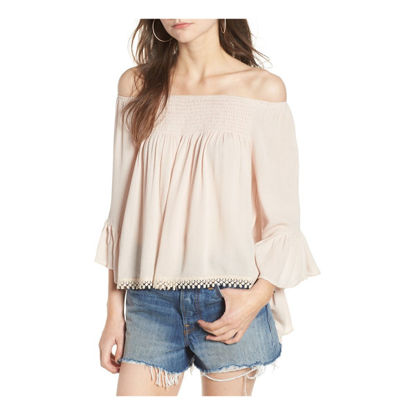 RAGA anne off the shoulder blouse - A lace-trimmed hem and beautifully breezy bell sleeves add...