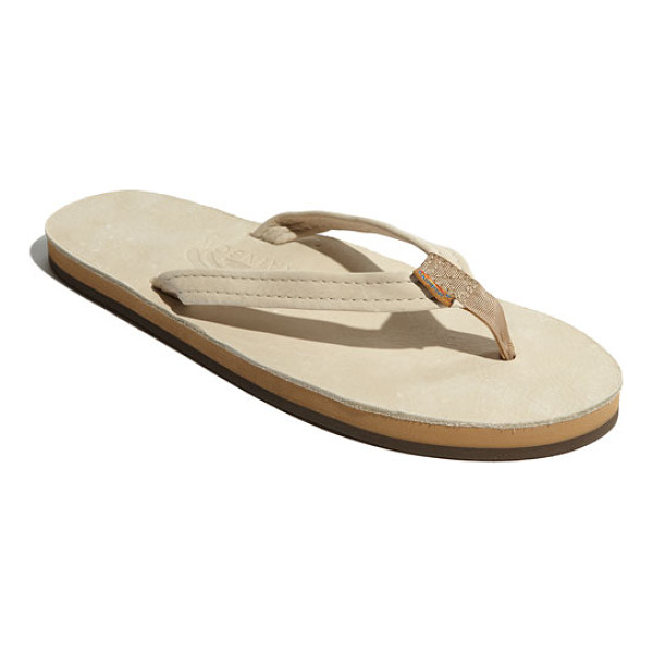 RAINBOW narrow strap sandal - A casual flip-flop features layers of sponge memory rubber...