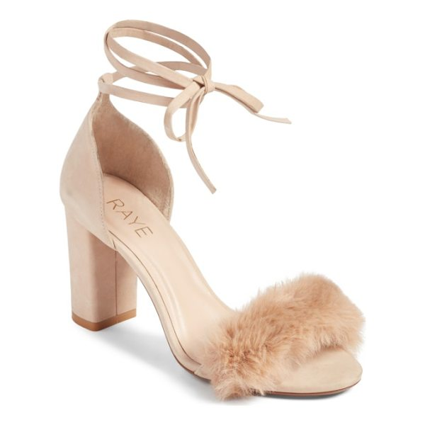 RAYE lacey faux fur sandal - Make a fashion-forward statement in block-heel sandals that...