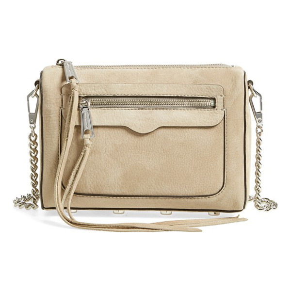REBECCA MINKOFF 'avery' crossbody bag - A chic clutch shaped from lush suede features long,...
