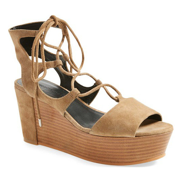 REBECCA MINKOFF cady wedge sandal - Slender ghillie straps lace up the bold, retro silhouette...