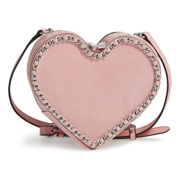 REBECCA MINKOFF chain heart crossbody bag - Chain-link trim traces the heart-shaped silhouette of a...